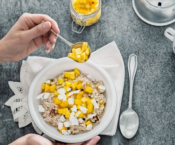 bircher müsli joghurt haferflocken rezepte ovenight oats mit mango