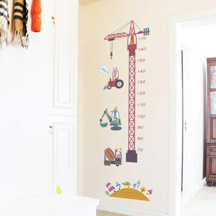 cartoon turm kranich jungenzimmer dekoration messlatte kinderzimmer wandsticker kreative deko idee kinderzimmer