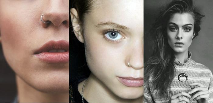 collage inspiration ideen für nasenpiercing nostril ring silber und gold schwarz weißes foto nahaufnahmen gesichter