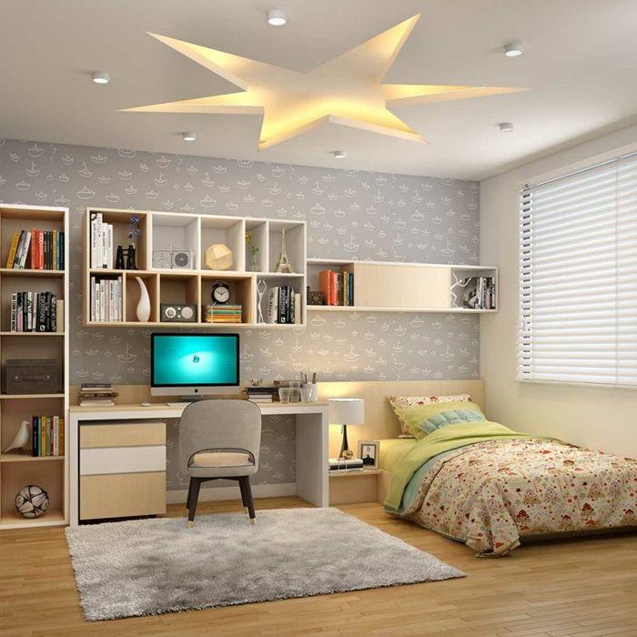 decke deko ideen für das jugendzimmer kidnerzimmer stern mit beleuchtung