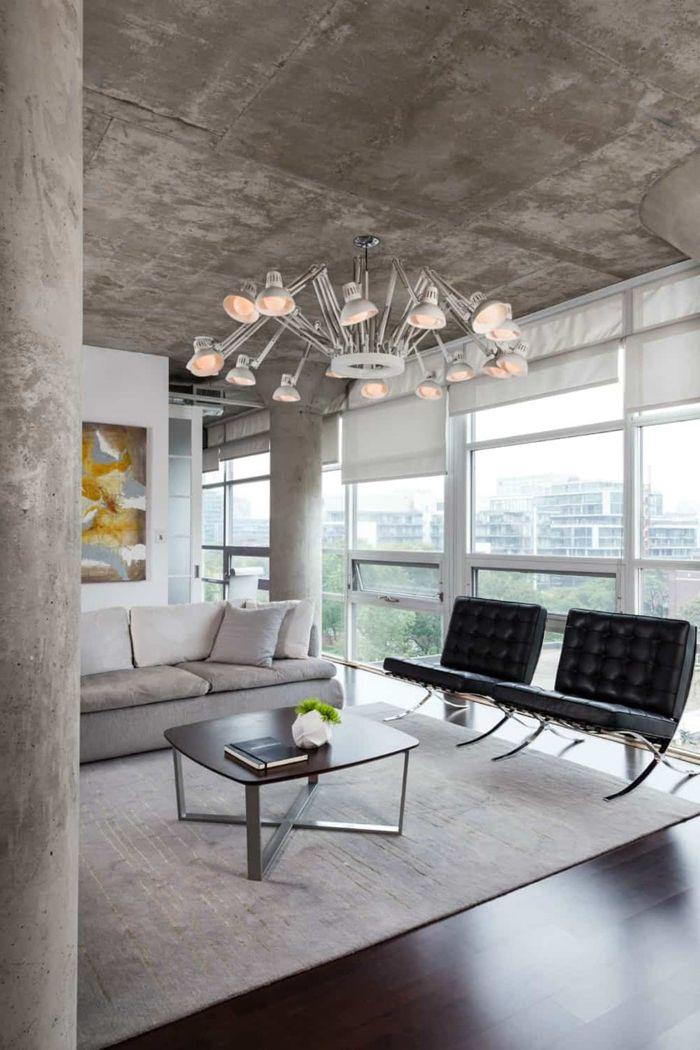 decken deko zimmerdecke in beton optik wohnzimmer gestalten wohnung einrichten tipps
