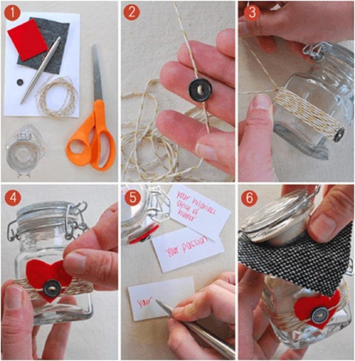 diy geschenke freund geschenk valentinstag mann selber machen liebesgeschenke schritt für schritt anleitung einmachglas basteln valentinstag mann