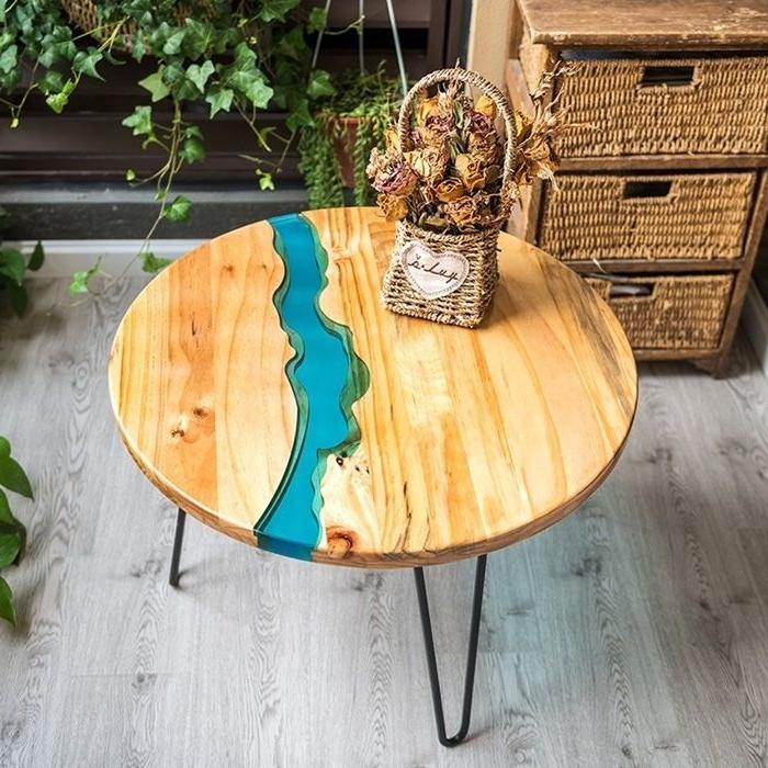 epoxidharz tisch esstisch aus epoxidharz und massivholz rundes design