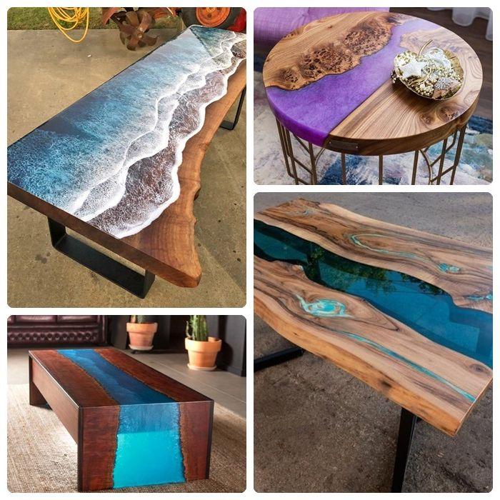 epoxidharz tisch ideen beispiele designs lila epoxidharz möbelstücke aus massivholz