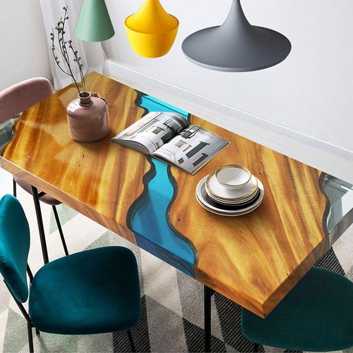 epoxidharz tisch massivholztisch mit eposidharz einrichtungsideen wohnung einrichten möbel