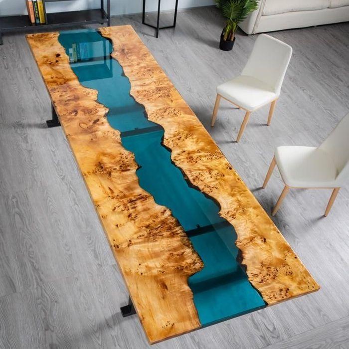epoxidharz tisch tischdesign aus eposidharz und massivholz massivholztisch ideen