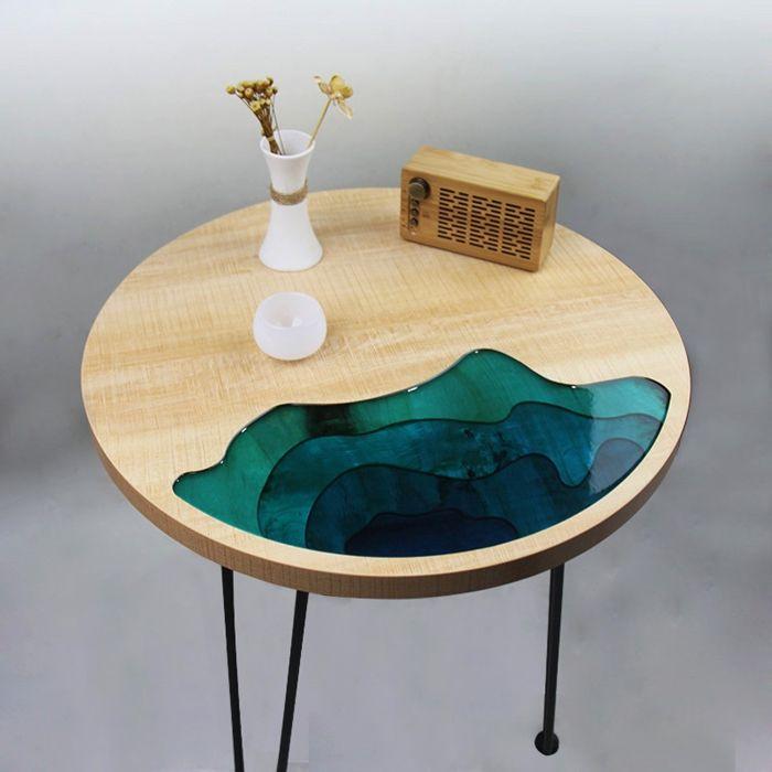 epoxy river table rundertisch aus holz und harz epixidharztisch einzigartige möbel