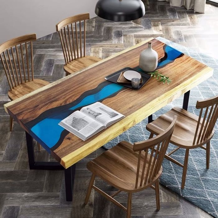 epoxy river table selber bauen inzigartige möbelstücke wohnung einrichten