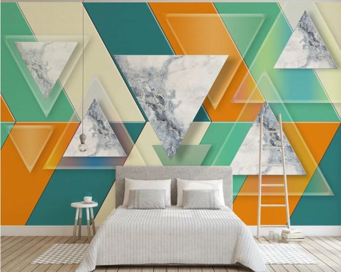 fototapeten schlafzimmer auswählen wände fototapete uwalls dreiecke abstrakt bunt orange grün