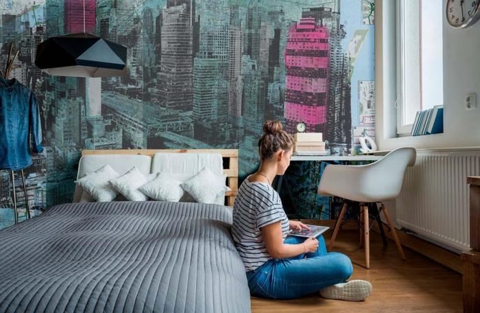 fototapeten uwalls fototapeten für wände schlafzimmer auswählen gebäude rosa grau mädchen