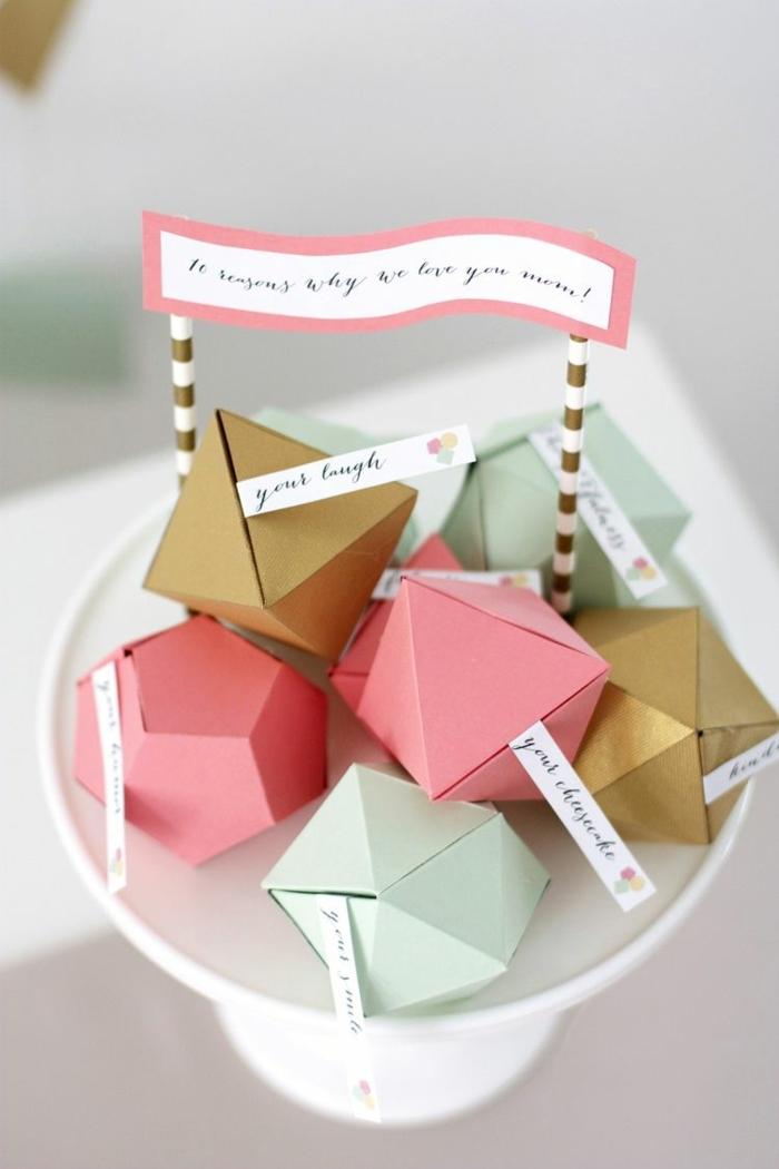 geometrische kästchen mit überraschung muttertagsgeschenke diy originelle bastelideen