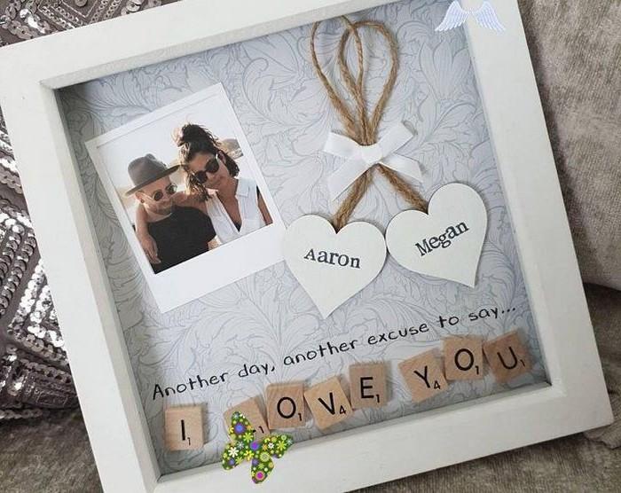 geschenke für jahrestag beziehung selbstgemacht valentinstag mann valentinstag geschenke selber machen fotorahmen mit foto und deko