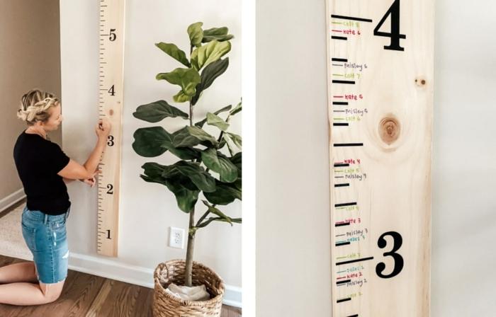 große grüne pflanze dame zeichnet auf messlatte kinderzimmer selber machen kreative diy ideen inspo