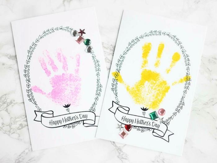 handabdruck karte muttertag ideen kreative bastelideen mit kindern geschenke zum muttertag