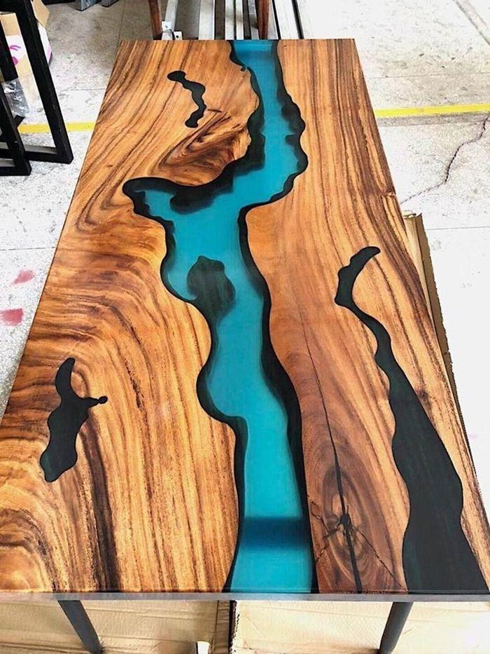 holztisch selber bauen tich aus harz und holz möbelstücke aus massivholz