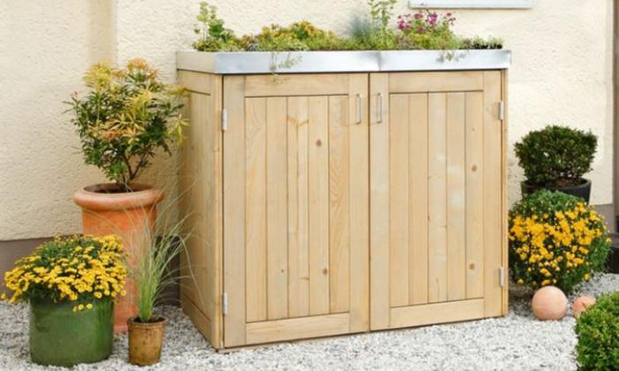 ideen müllltonnenbox selber bauen mülltonnenbox bepflanzbar mülltonnenverkleidung holz für zwei müllbox selber bauen