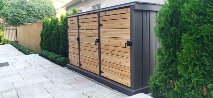 ideen mülltonnenbox selber bauen mülltonnenüberdachung mülleimer verkleidung drei mülleimer hell schwarz