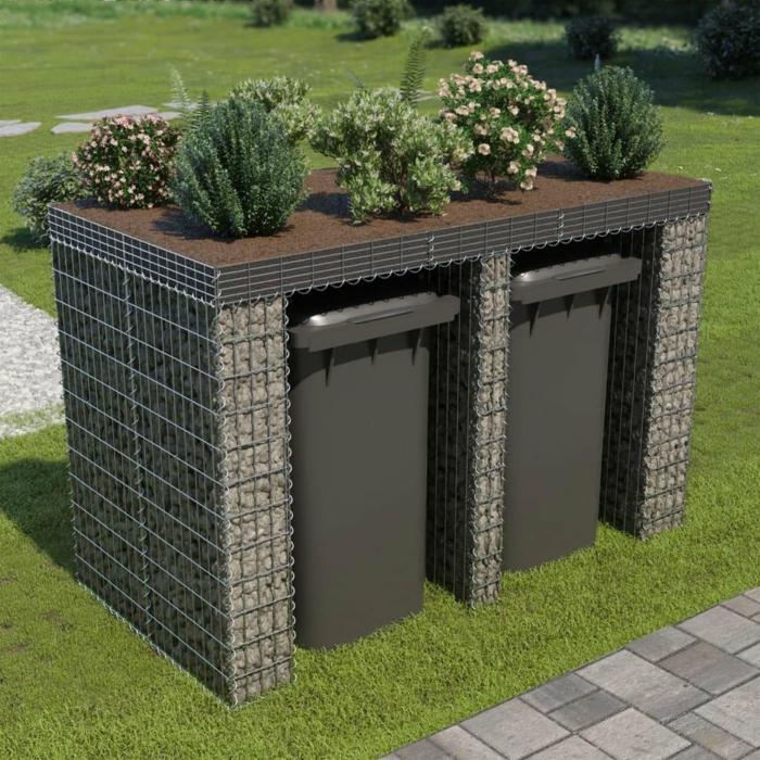 ideen mülltonnenbox selber bauen mülltonnenbox bepflanzbar zweiü mülleimer verkleidung holz stein