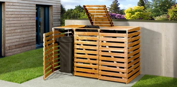 ideen mülltonnenbox selber bauen mülltonnenverkleidung holz mülltonnenbox selber bauen bausatz drei fach klappenmechanismus selber bauen
