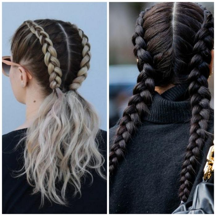 inspiration haarfrisuren zöpfe baddie style boxer zöpfe holländische zöpfe verschiedene varinten blonde und braune haare