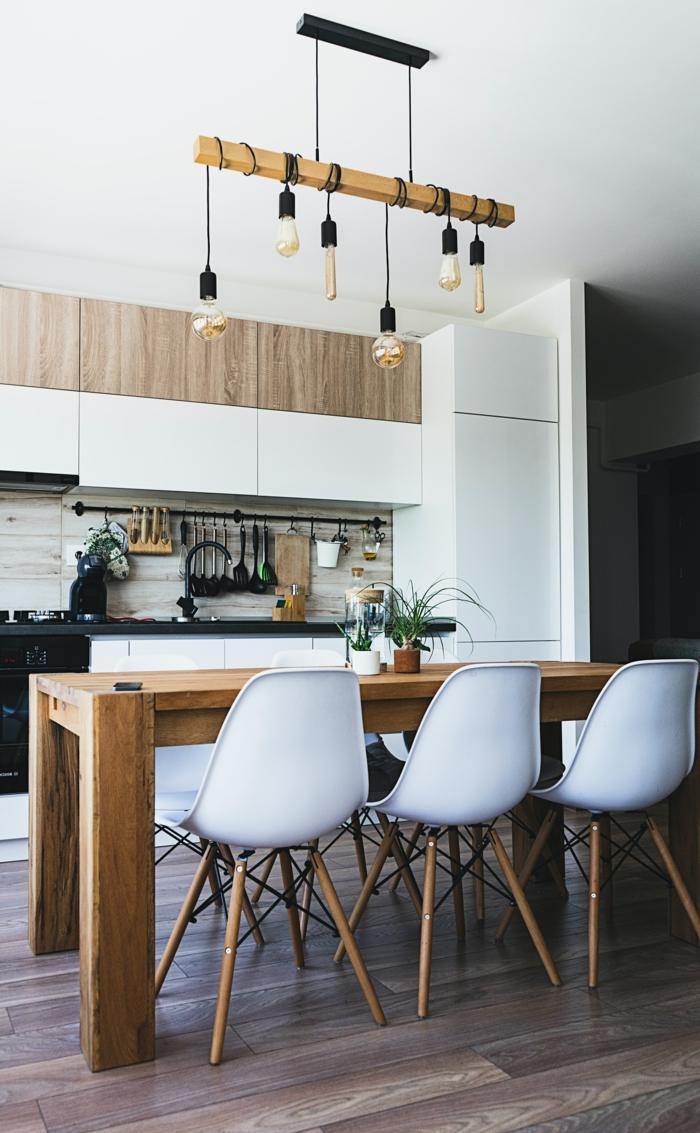 küchenlampe modern großer holztisch innenausstattung inspiration küche beleuchtung küche information