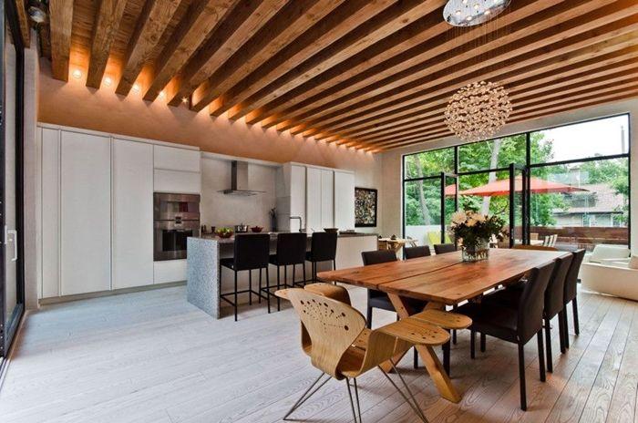 lösungen für zimmerdecken küche mit essbereiche moderne wohnungen decke aus holzdielen