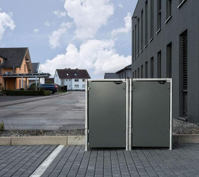 müllbox selber bauen ideen mülltonnenbox selber bauen mülltonnenbox wpc für zwei eimer alu grau weiß straße