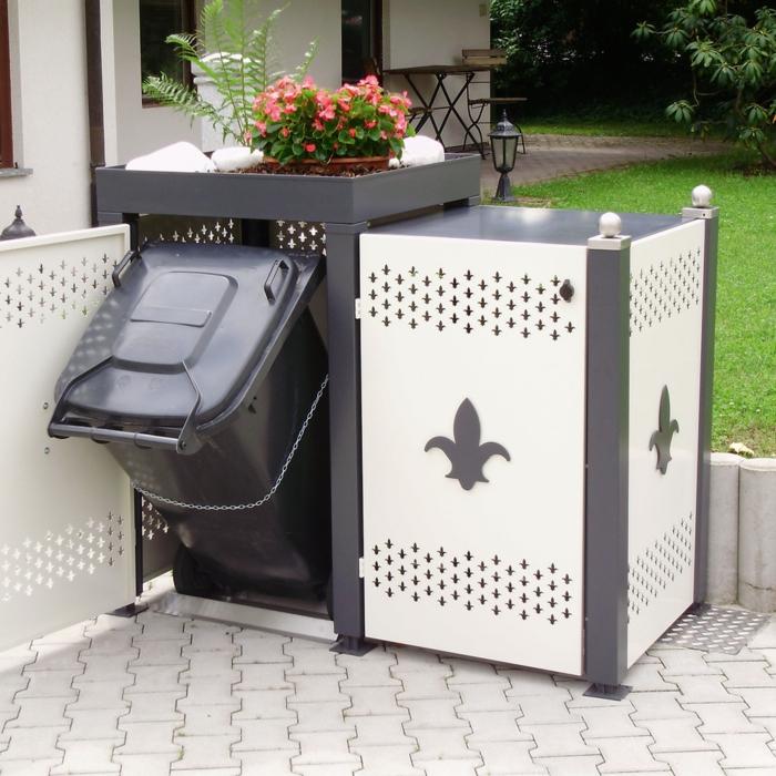 müllbox selber bauen mülleimer unterstand mülltonnenbox alu mülltonnengarage zwei eimer weiß grau mülltonnenverkleidung ideen
