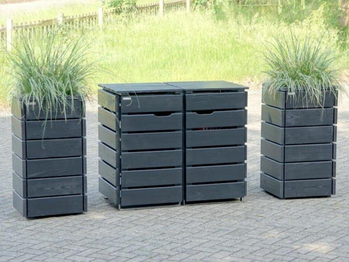 mülltonnenüberdachung mülleimer verkleidung müllbox selber bauen klappenmechanismus selber bauen schwarz