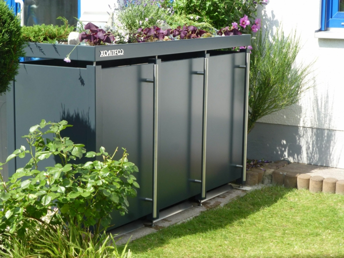mülltonnenbox aluminium müllbox unterstand mülltonnenbox müllteimer verkleidung metal drei eimer