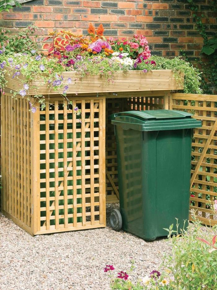 mülltonnenbox aus paletten mülltonnenverkleidung holz mülltonnenbox bepflanzbar mülltonnenbox für zwei eimer mülltonnengarage