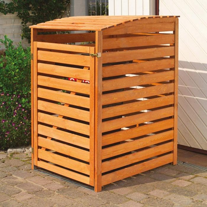 mülltonnenbox holz selber bauen müllbox selber bauen klappenmechanismus selber bauen für einen eimer
