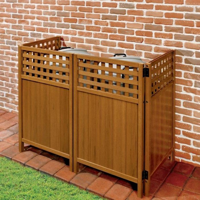 mülltonnenbox holz selber machen mülleimer unterstand müllbox selber bauen holz zwei mülleimer