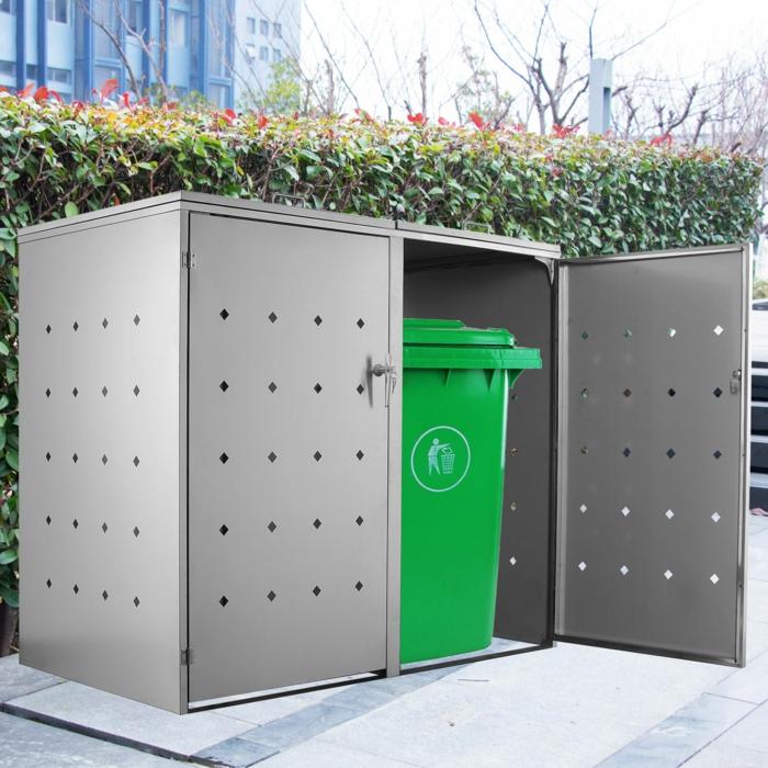 mülltonnenbox wpc mülleimer verkleidung mülltonnenbox alu hell für zwei mülltonnenbox selber machen