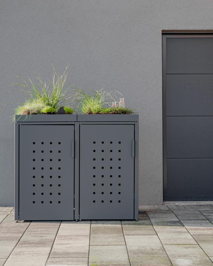 mülltonnengarage mülltonnenbox bepflanzbar müllbox selber bauen mülltonnenbox alu zwei mülleimer verkleidung