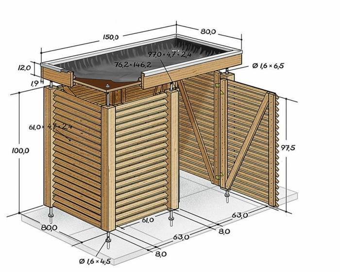 mülltonnenverkleidung ideen mülltonnenbox holz selber bauen zeichnung plan größe mülltonnenbox bepflanzbar