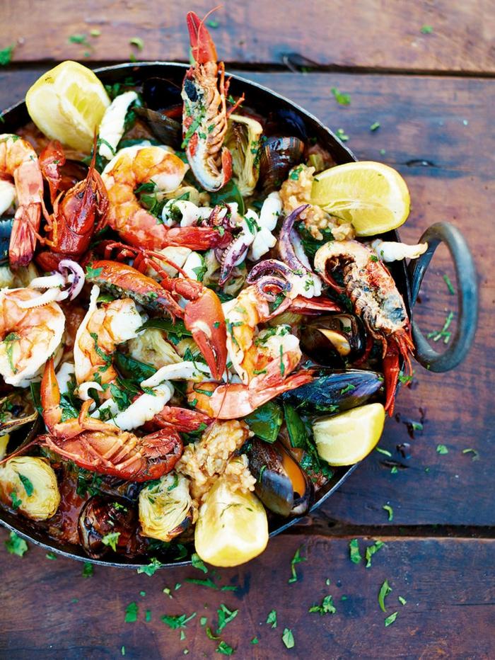 mallorquinische paella rezept mit meeresfrüchten paella spanisches reisegericht abendessen ideen