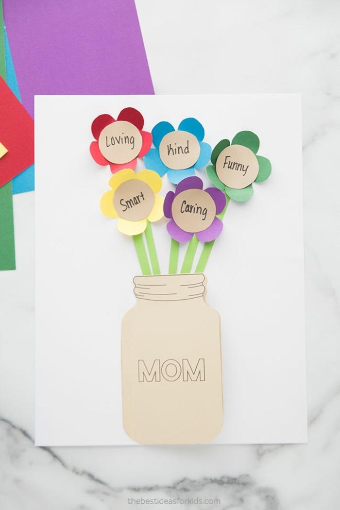 muttertag diy karte einmachglas mit blumen muttertagsgeschenk basteln mit kindern
