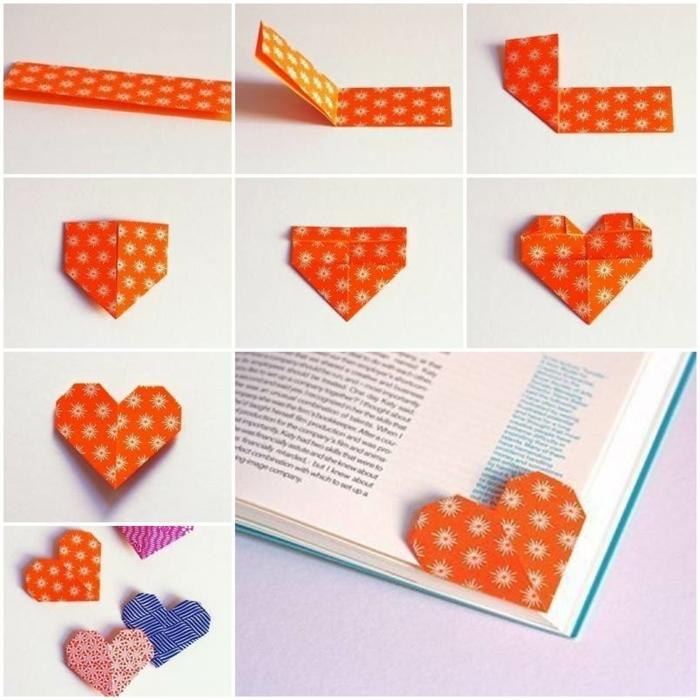 origami herzförmiges lesezeichen muttertagsgeschenke selber machen originelle ideen