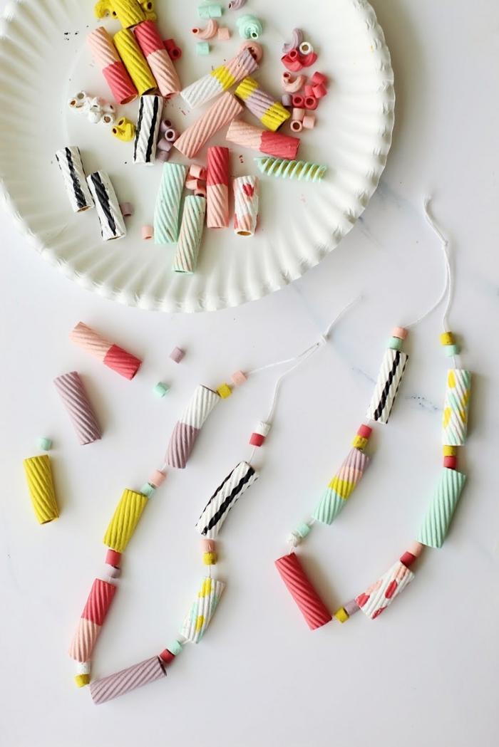 originelle bastelideen basteln mit makkaroni halskette muttertagsgeschenke basteln diy geschenke muttertag