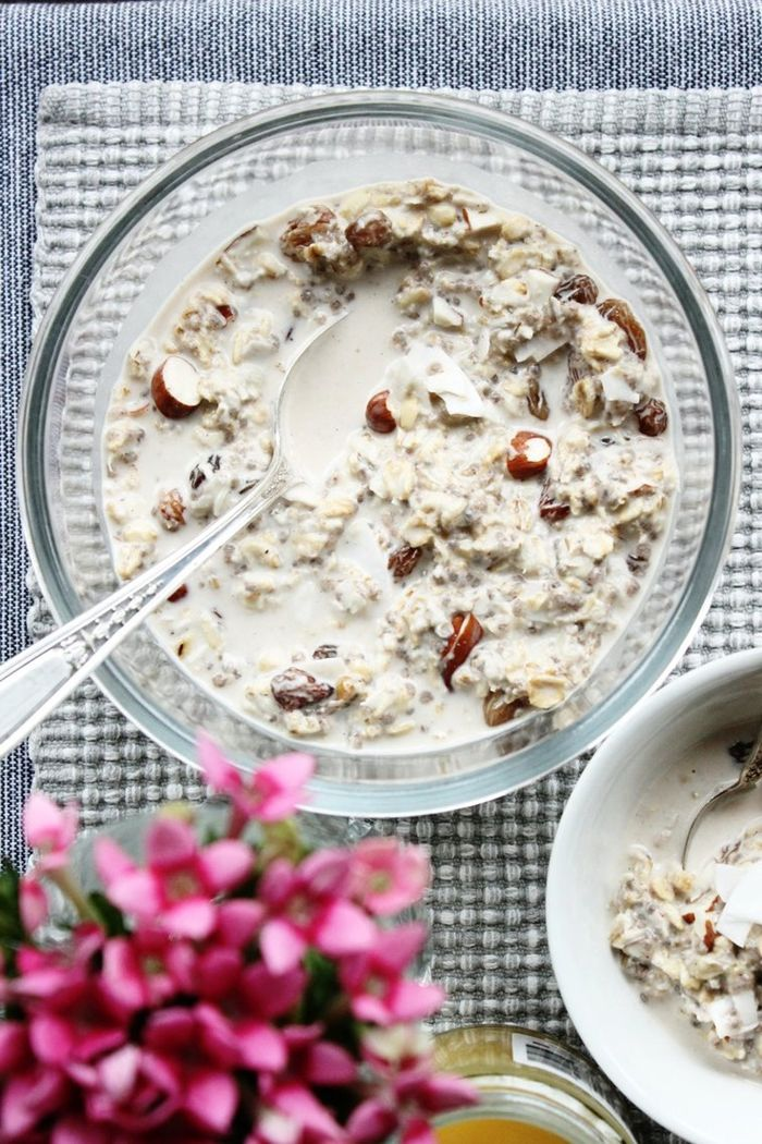 rezept bircher müsli vegan essen haferflocken mit kokosmilch und nüssen