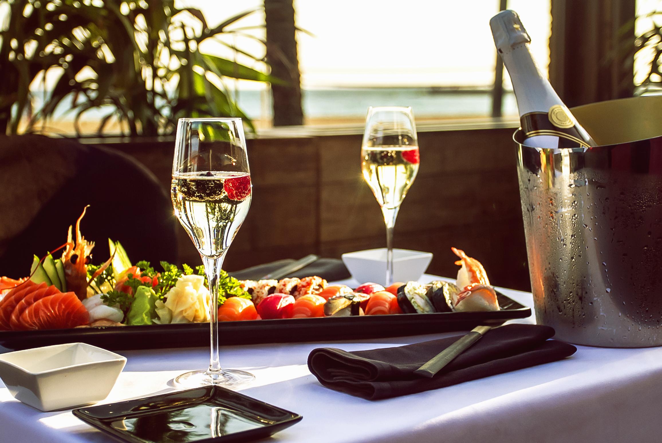 luxury restaurant table on the beach