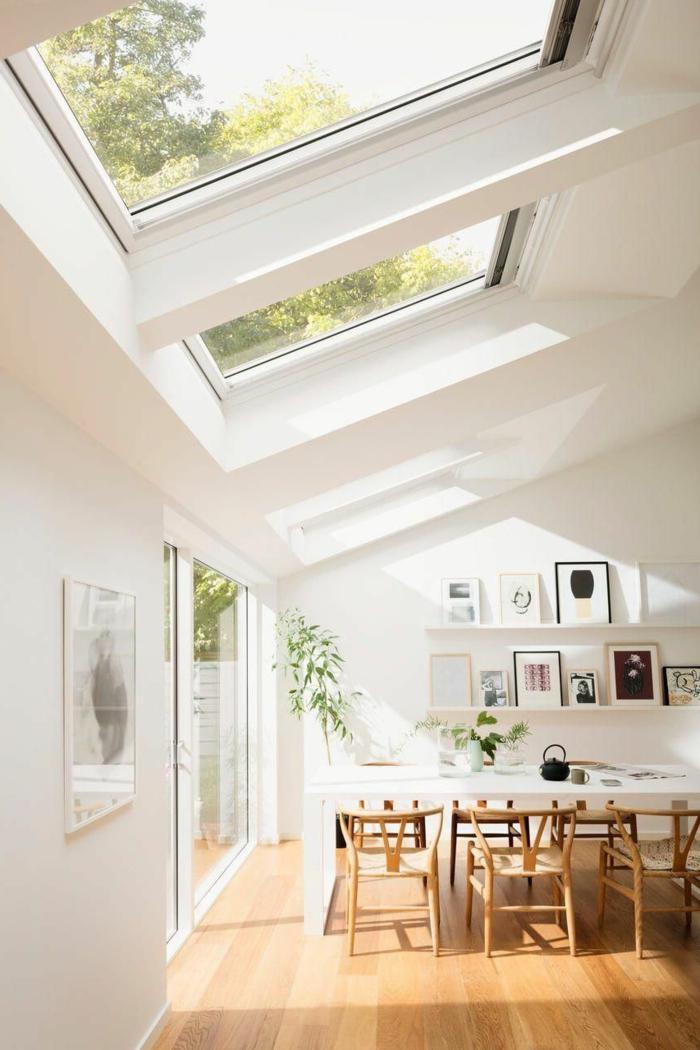 scandi styla ausstattung moderne küche holz möbel großer esstisch velux fenstergrößen information dachfenster austausch