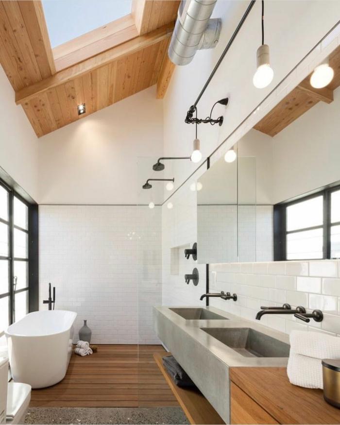 scandi style badezimmer einrichten mit badewanne decke aus holz dachfenster austauschen kosten infos und tipps