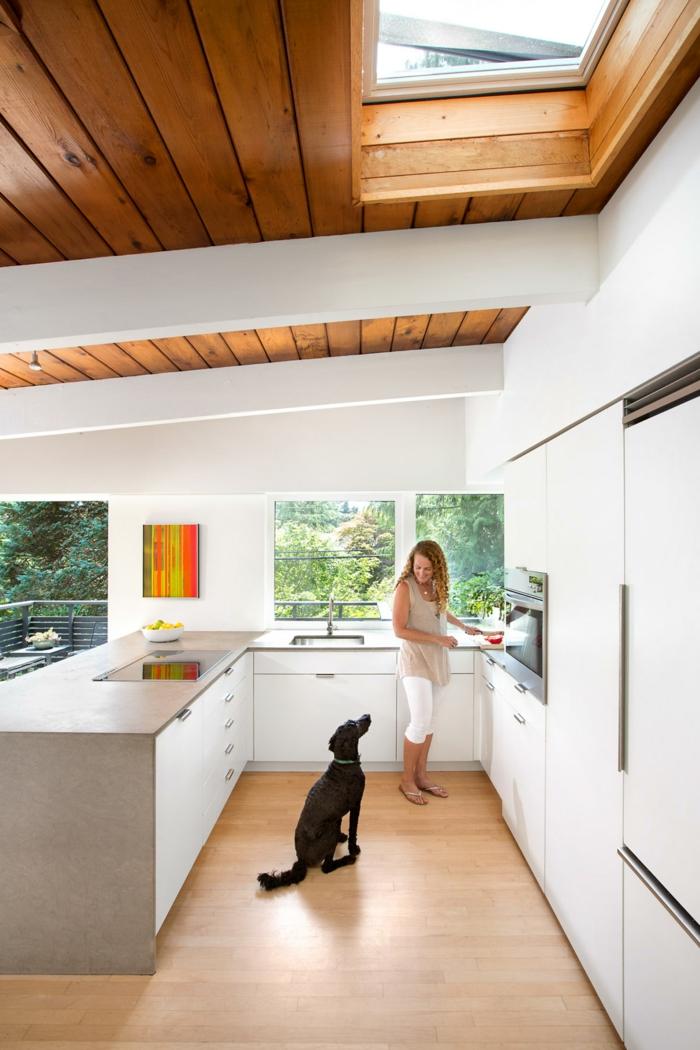 schwarzer hung frau kocht moderne küche mit insel holzdecke ideen velux fenster einbauen weiße küchenschränke