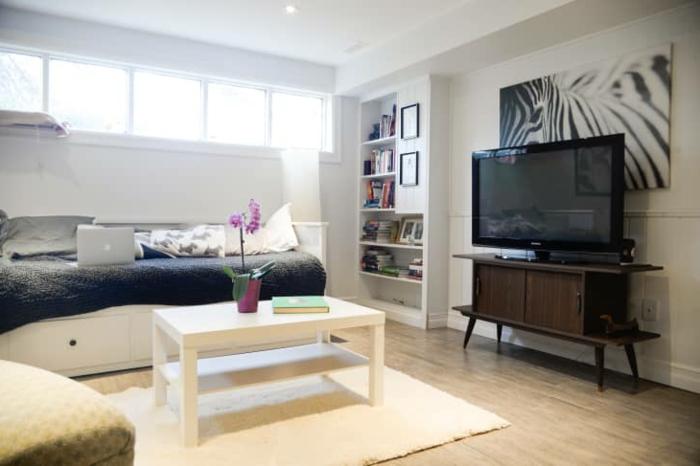 souterrain fenster kellerraum gestalten möbel auswählen helle farbe genug licht lcd fernseher klein kaffeetisch sofa