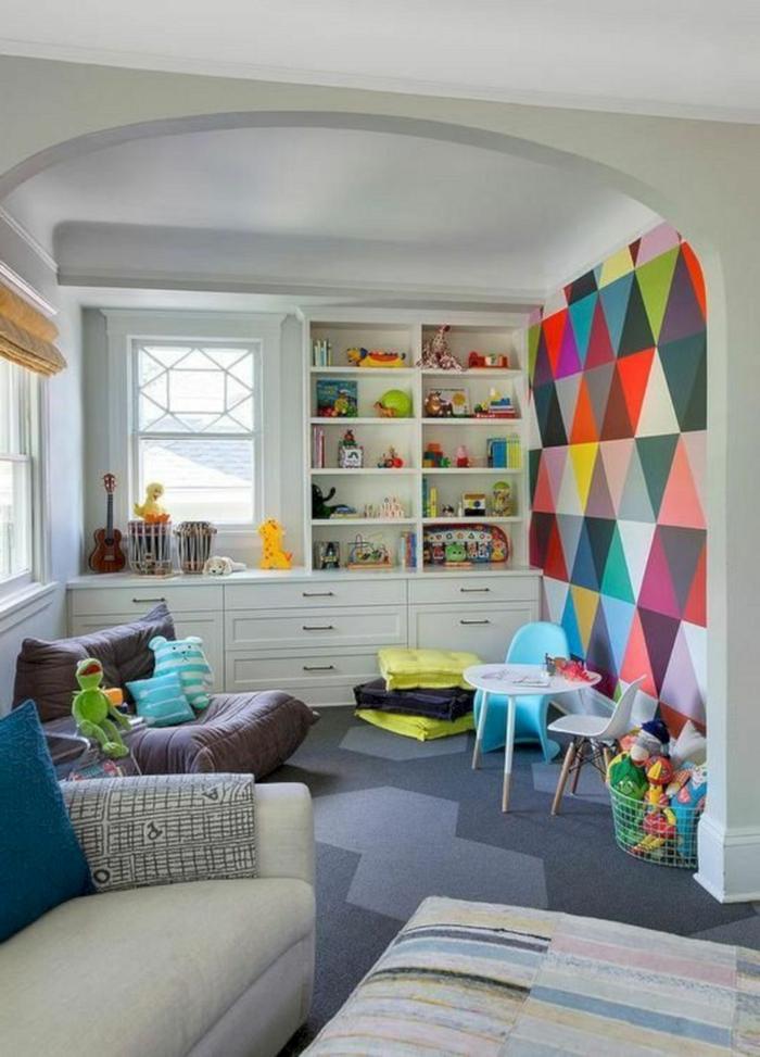 souterrain fenster licht bunte tapette weiße wände kinderzimmer kellerraum gestalten kinder spielen