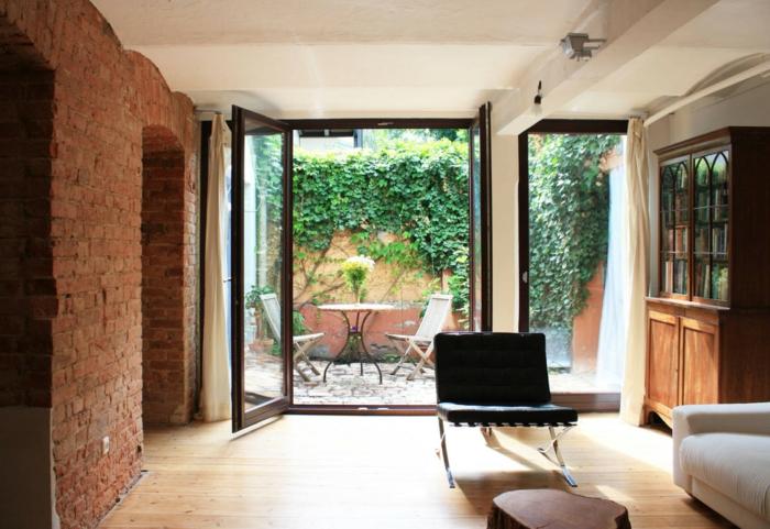 souterrain terasse licht große glastür souterrain definition wohnzimmer im keller ziegelwand