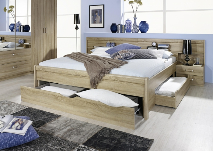 souterrain wohnung einrichten souterrainwohnung bilder schlafzimmer im keller doppelbett mit bettkasten eichenholz