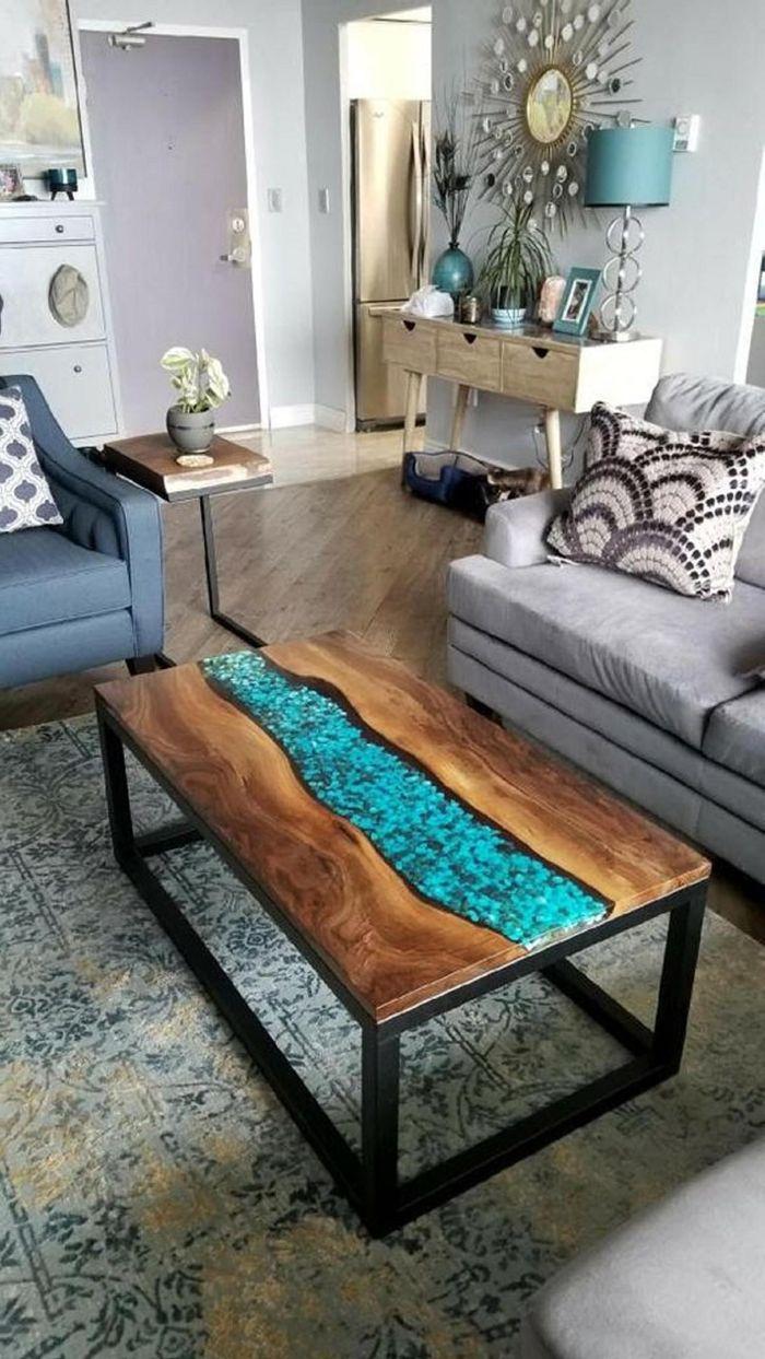 tisch mit epoxidharz arbeiten mit harz außergewöhnliche möbelstücke wohnung einrichten